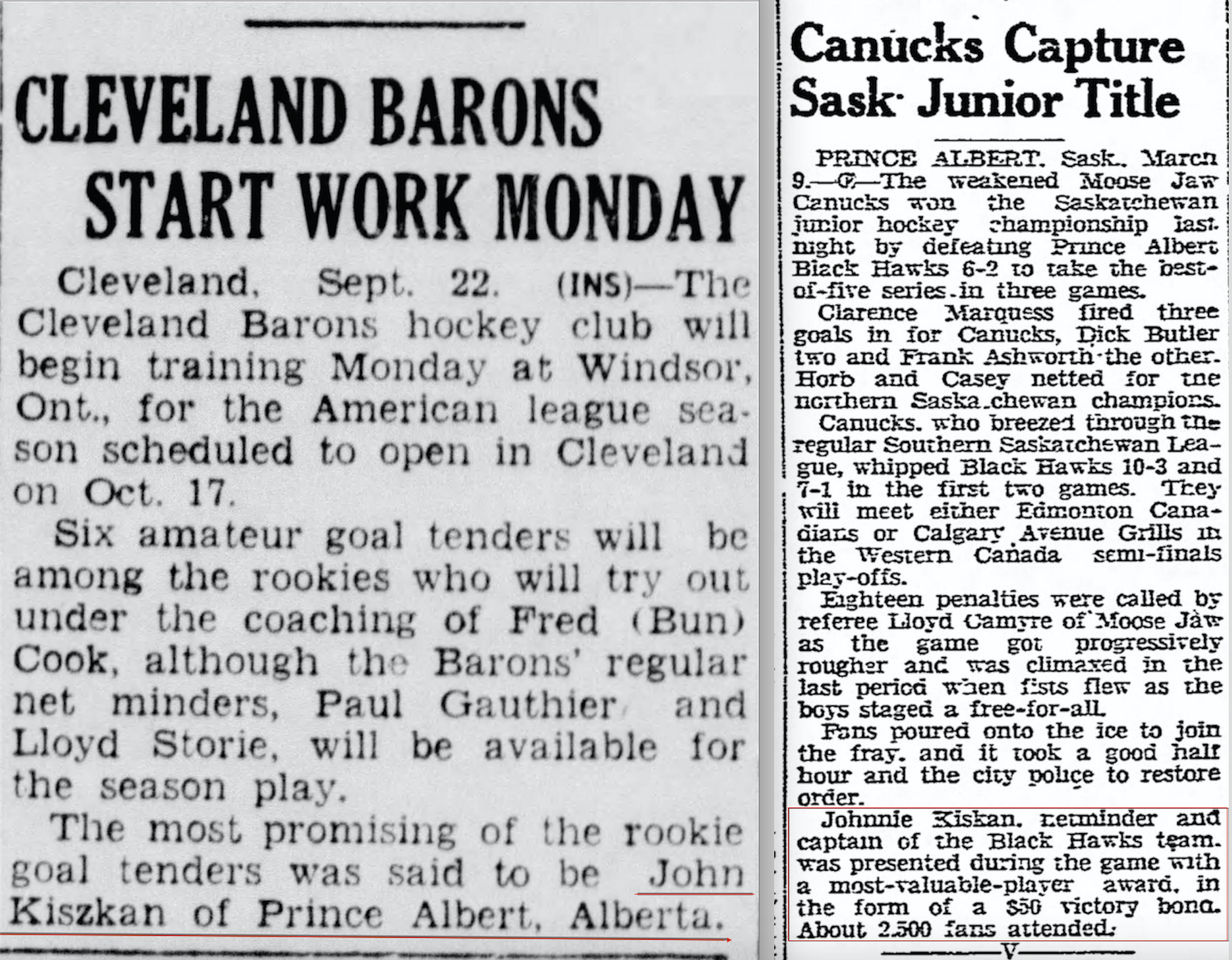 News and views eric zweig author and hockey historian cleveland barons story from the new philadelphia ohio daily times on september 29 1944 the saskatchewan junior story is from the lethbridge herald on aiddatafo Choice Image